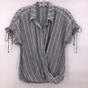 Like New Heart Loom grey stripe faux wrap top